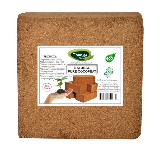 Thanjai Natural's Cocopeat Block - 5Kg - 5.5kgs Expands up to 75-80Litres of Coir Soil Manure (5000 g Cake)